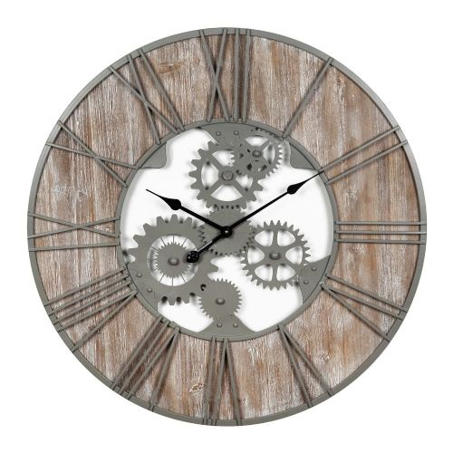 Extra Large Wood & Metal Industrial Style Wall Clock 80cm Diameter